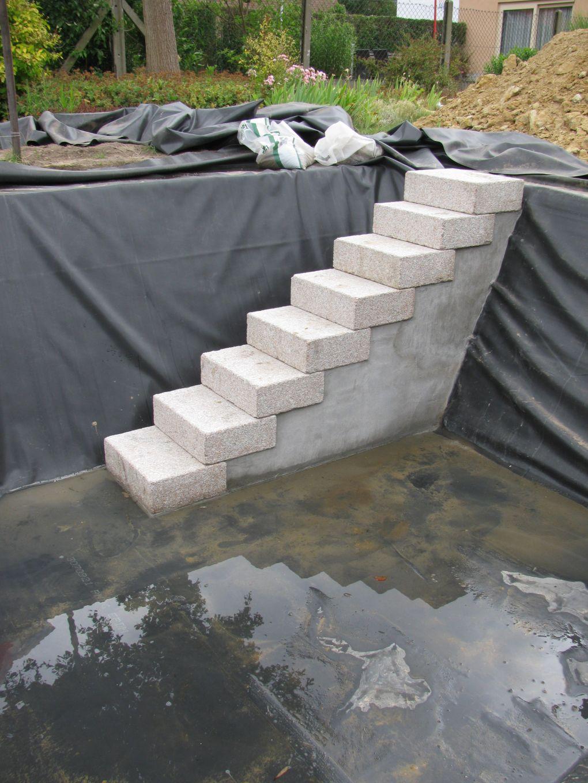 Metselen van de trap en boordstenen doehetbeterzelf for Trap tuin aanleggen